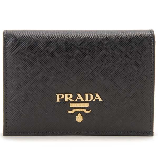 プラダ PRADA 二つ折り財布 レディース ブラック 1MV021 QWA F0002 サフィアーノ コンパクト財布