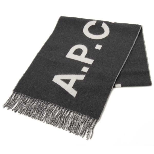 A.P.C. アーペーセー マフラー 大判ストール グレー WOAFEM15163-LAD 大特価 ウール100% スカーフ メンズ お気にいる ロゴ レディース