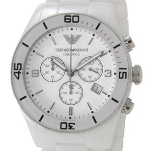 エンポリオ アルマーニ EMPORIO ARMANI メンズ 腕時計 セラミカ ホワイト クロノグラフ AR1424