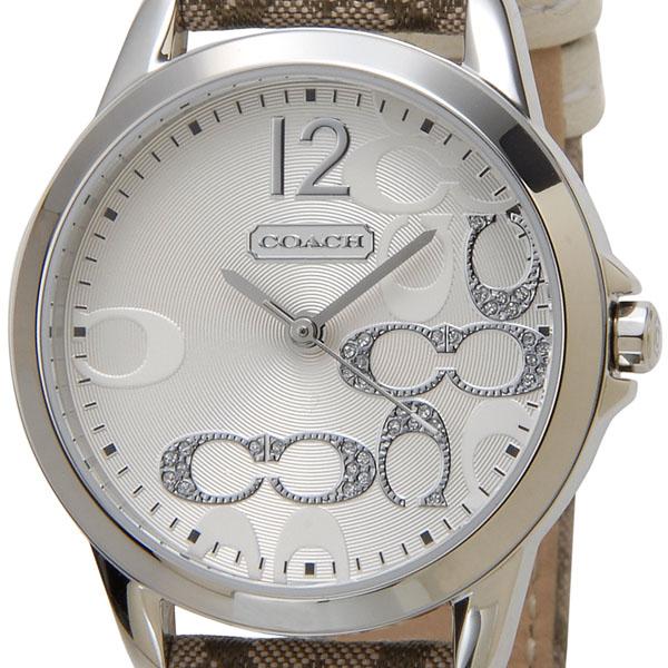 コーチ COACH 腕時計 14501620 ニュークラシックシグネチャー スモールC シルバー カーキ×マホガニー レディース 新品