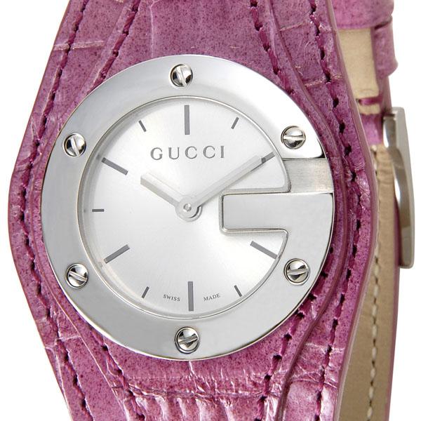 グッチ GUCCI レディース 腕時計 YA104506 104L 104 コレクション Silver Dark Pink Alligator ワニ革 アリゲーターブレスレット