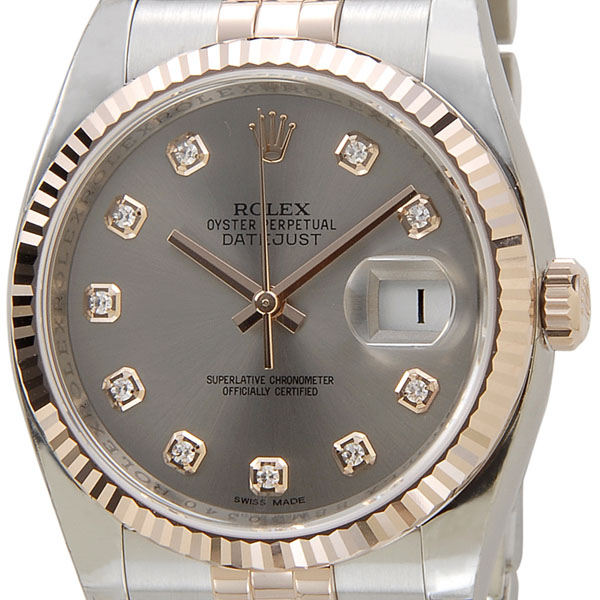 ロレックス ROLEX 116231 G-GY デイジャスト ダイヤモンド10P グレー×ピンクゴールド メンズ腕時計 116231