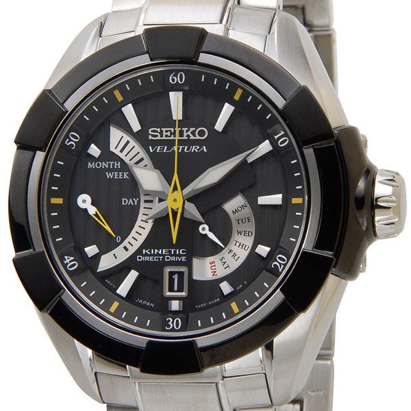 セイコー SEIKO キネティック ダイレクトドライブ 腕時計 SRH015P1 KINETIC ブラック メンズ オートクォーツ 電池交換不要 P5SP