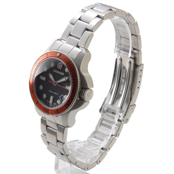 温格温格 72339 女式手表营 200 米耐水黑 / 橙 / 银军事户外品牌