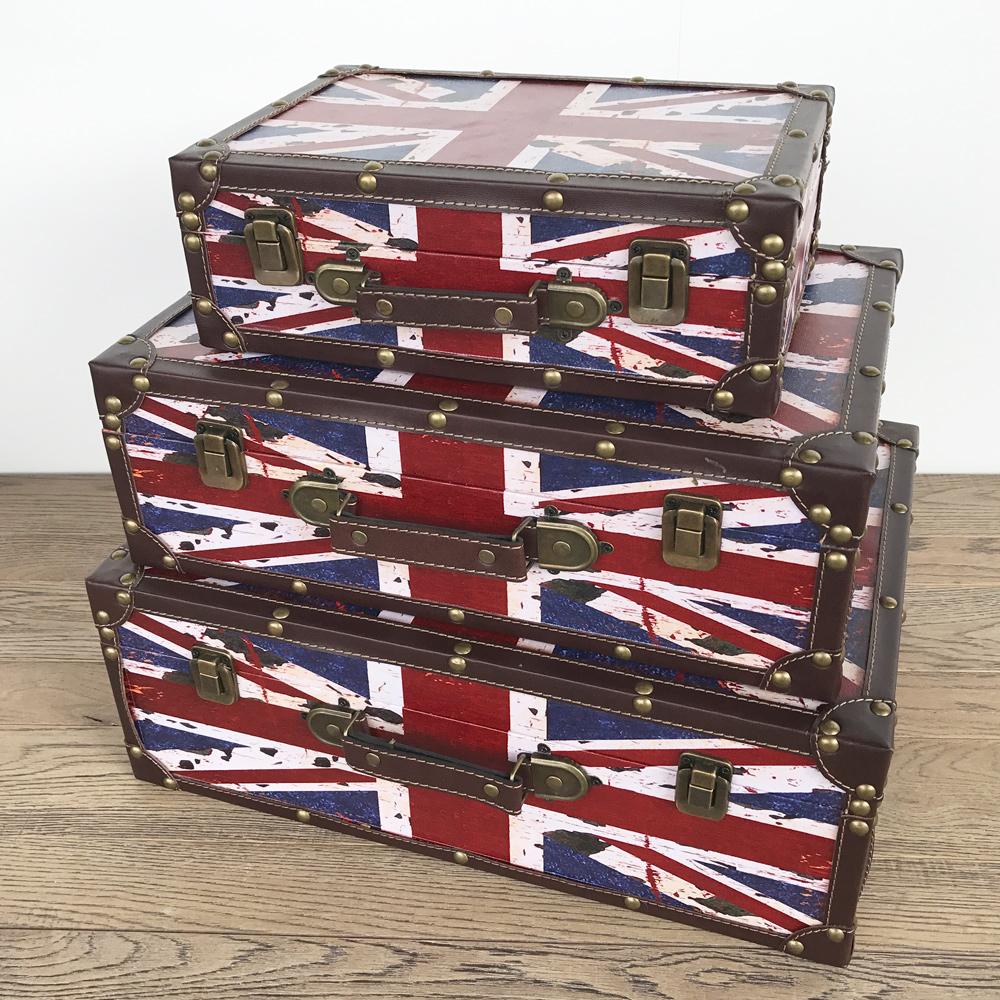 【ユニオンジャック スーツケース】ボックス 箱 アンティーク レトロ 古びた 小物入れ 収納 角型 ふた付き コンパクト ユニオンジャック ロンドン 国旗 デザイン 3個セット ディスプレイ 送料無料