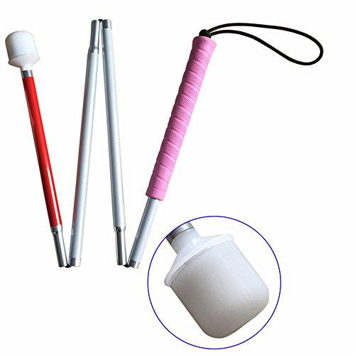 盲人用白杖 折りたたみ式四段 [正規販売店] アルミ製 子供のために,ピンクのゴムグリップ 受注生産品 100cm