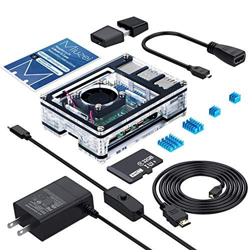 色:電源セット2 Raspberry Pi 4 ケース/MicroSDHCカード32G/NOOBSシステムプリインストール/カードリーダ/5.1V3A Type-C スイッチ付電源 PSE取得/MicroHDMI-to-HDMIケーブルライン/アダプター/冷却ファン/日本