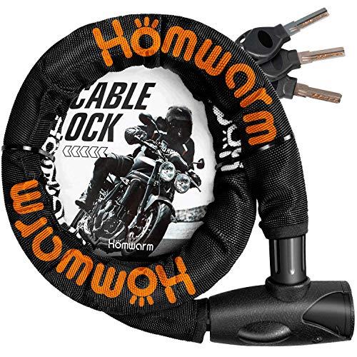 レビューを書けば送料当店負担 色:ブラック Homwarm バイクロック チェーンロック バイク 自転車 ワイヤーロック φ 盗難防止 ブラック 直径 頑丈 初回限定 22mm 1200mm 鍵3本セット