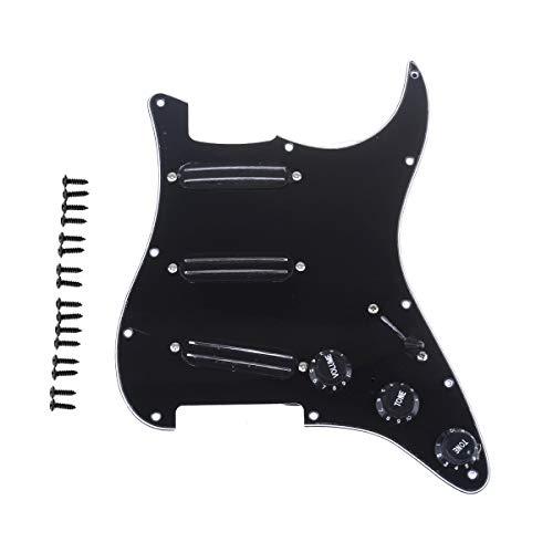 色:ブラック Musiclily 11穴 SSS 新登場 Loaded お気に入り 配線済み ピックガードセット フェンダースクワイアストラトエレキギター用デュアルホットレール高出力ピックアップ付き 3プライブラック