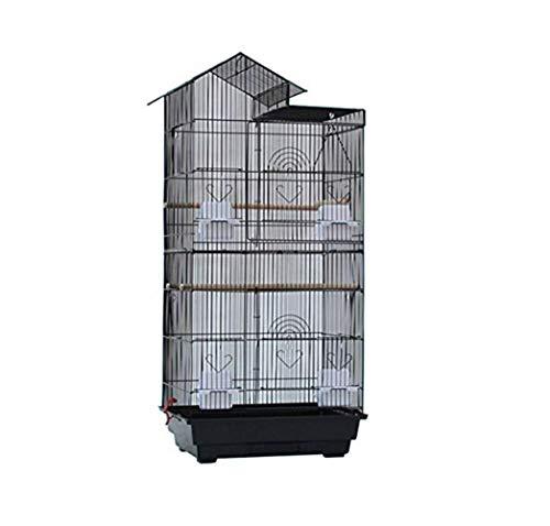 色:ブラック Aeon hum 鳥かご 鳥ケージ 大型 豪華ケージ 3段階 大きい インコ セールSALE%OFF オウムケージ コガネメキシコ ウロコ ボタン 新作販売 100x36x46 セキセイ コザクラ アキクサ ブラック マメルリハ オカメ
