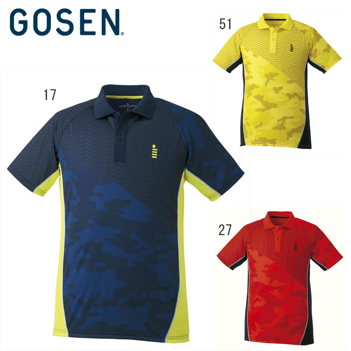 GOSEN T1728 ブランド品 テニス バドミントン ウェア メンズ ゴーセン メール便可 チープ ユニ ゲームシャツ 2017年秋冬モデル 取り寄せ