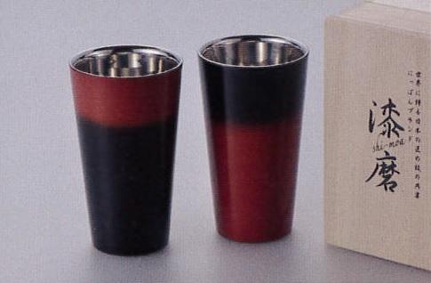 漆磨shi-ma 【黒彩】【赤彩】2重構造ストレートカップ(1客)