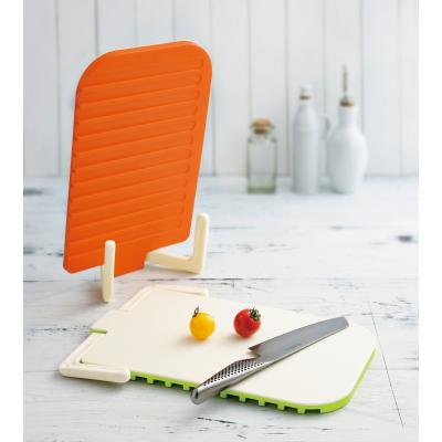 【自立もできる!感動の両面キッチンボード/1SKU(40枚)】まな板&水切り。両面使えてスッキリ自立!場所を取らないスマートキッチンツール。ハンドル 収納 オレンジ グリーン 省スペース