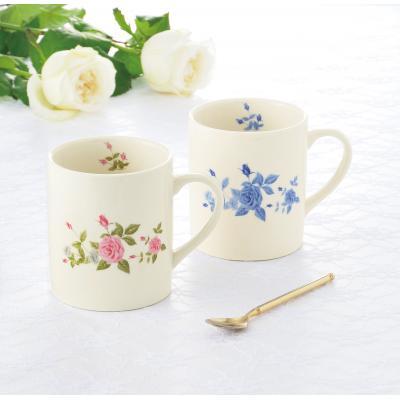 【ローズ マグカップ2個組/1SKU(36組)】心ときめくローズに囲まれた華やぎのティータイムを・・・。 実用的 ペアセット ギフト プレゼント 贈り物