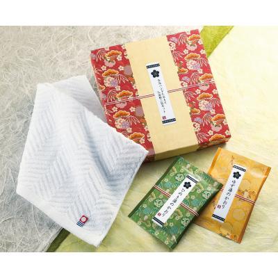 【今治ハンドたおると入浴料二包セット/1カートン (72組)】確かな品質の今治ハンドタオルと、豊かな香りの檜・ゆずの入浴料をセットにしました。日本製 国産 ギフト 贈り物 プレゼント