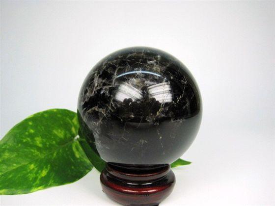 【球体】黒水晶Φ73mm木製台座付き