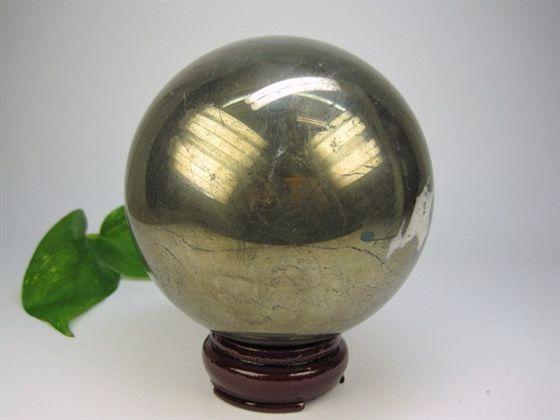 【球体】パイライトΦ10.4cm木製台座付き