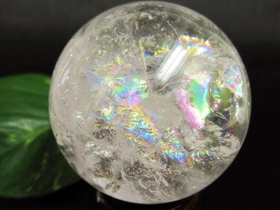 【球体】レインボー水晶Φ61mm木製台座付き