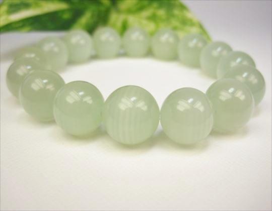 【ブレスレット】グリーンレースカルサイト(カーボナイト)品質AAAΦ13±0.2mm
