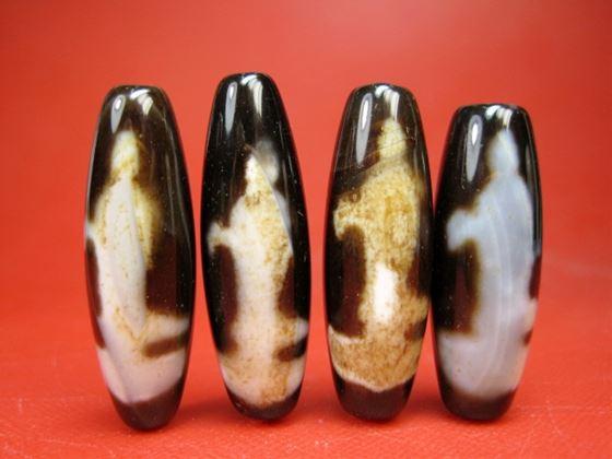 天然石 メノウ 希少 ※訳あり※ 観音天珠38×12mm チベット高級至純天珠 激安超特価 2粒SET