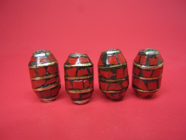 粒売り チベットアンティークビーズ9×14±0.5mm 店内全品対象 国内送料無料 10粒SET