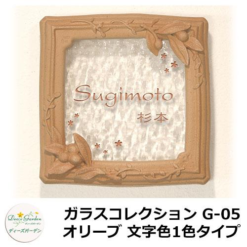 ディーズガーデン 表札 ガラス表札 ディーズサイン ガラスコレクション G-05 オリーブ 文字色1色タイプ DHG51