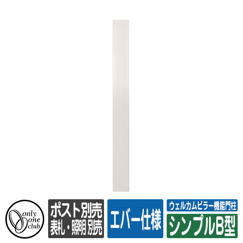 ウェルカムピラー機能門柱 シンプルB型 エバー仕様 表札・照明・ポスト・子機別売 イメージ:本体カラー・Hエバーホワイト