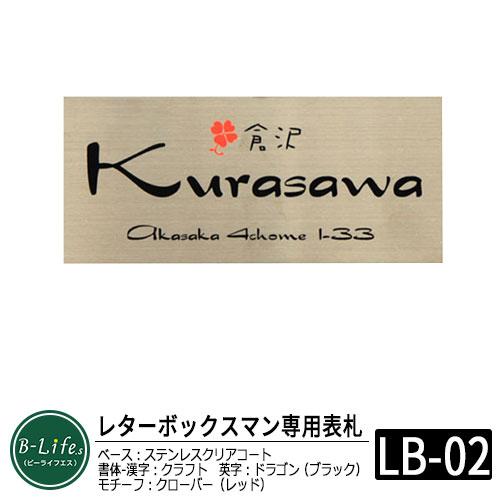 【ステンレス表札】 レターボックスマン専用 ネームプレート デザインコード:LB02