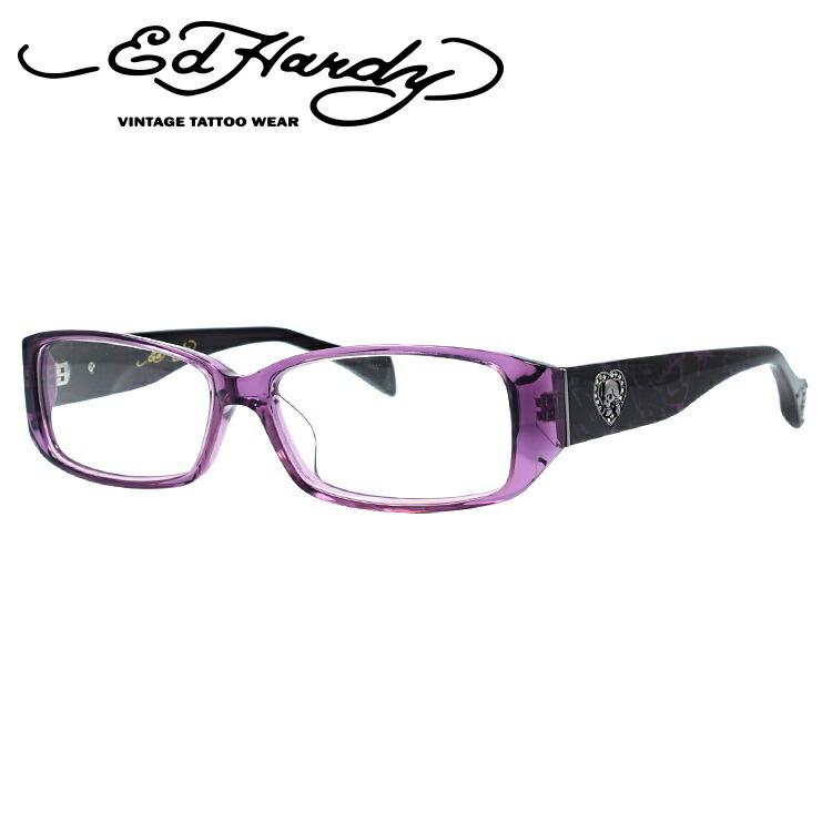 PURPLE EdHardy メンズ スクエア レディース パープル 伊達メガネ 眼鏡 EHOA001 エドハーディー 3 【スクエア型】
