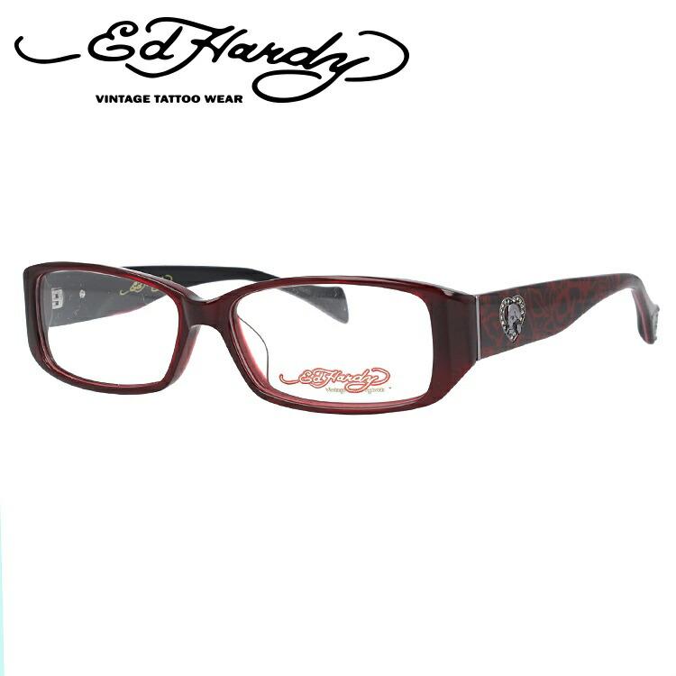 EdHardy エドハーディー 伊達メガネ 眼鏡 EHOA001 4 RED レッド スクエア メンズ レディース 【スクエア型】