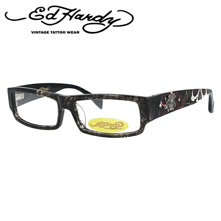 メガネ 度付き 度なし 伊達メガネ 眼鏡 EdHardy エドハーディー EHOA002 4 GREY HORN グレイホーン スクエア メンズ レディース 【スクエア型】 UVカット 紫外線