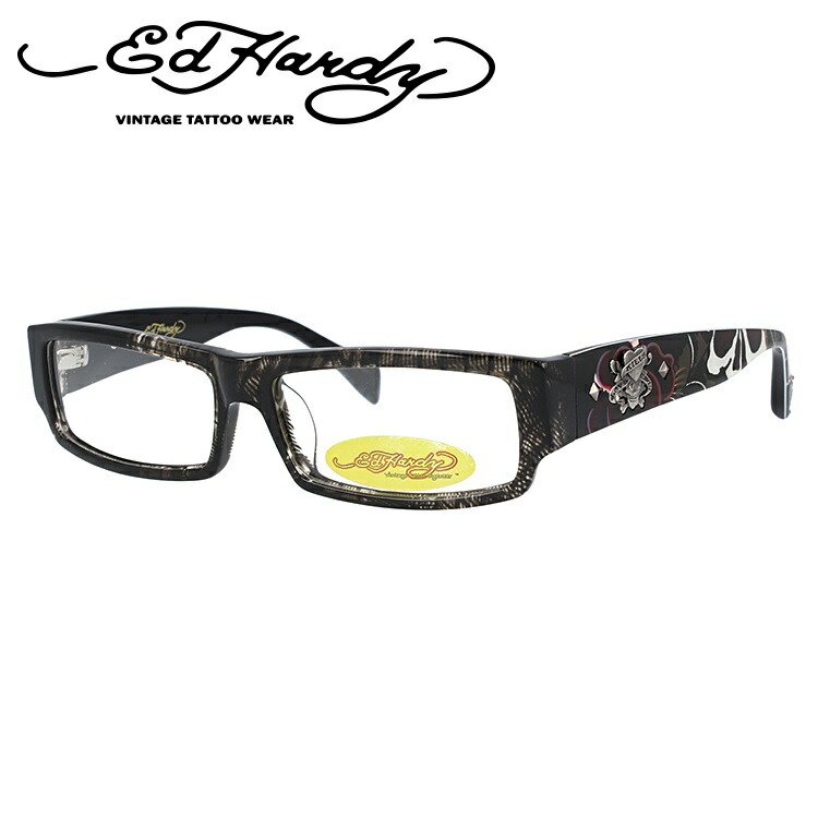 EdHardy エドハーディー 伊達メガネ 眼鏡 EHOA002 4 GREY HORN グレイホーン スクエア メンズ レディース 【スクエア型】
