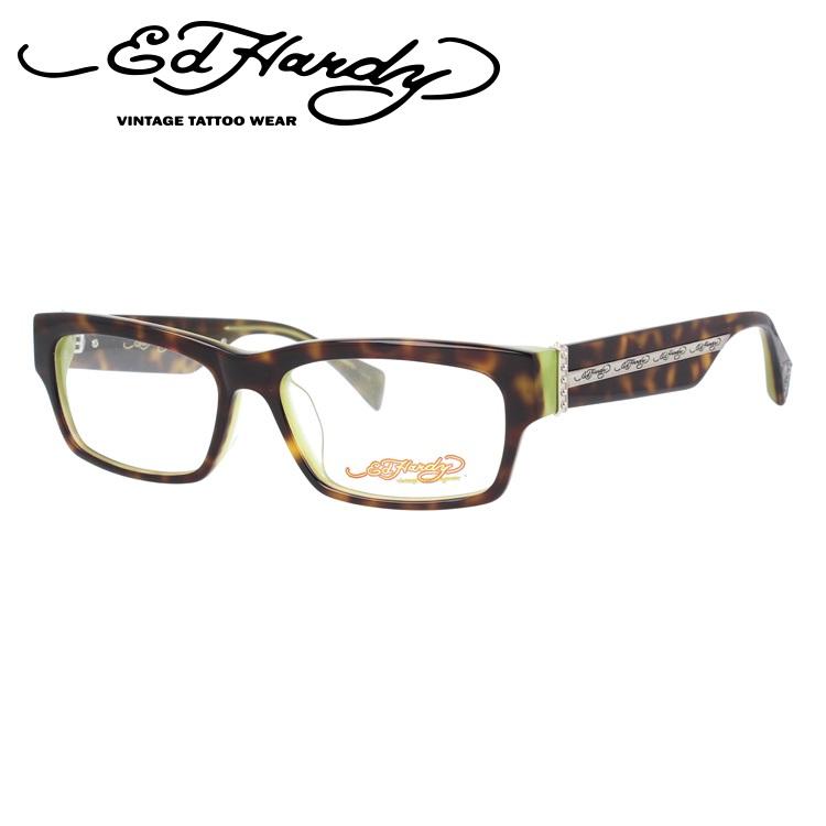 EdHardy エドハーディー 伊達メガネ 眼鏡 EHOA004 2 TORTOISE OLIVE トータスオリーブ スクエア メンズ レディース 【スクエア型】