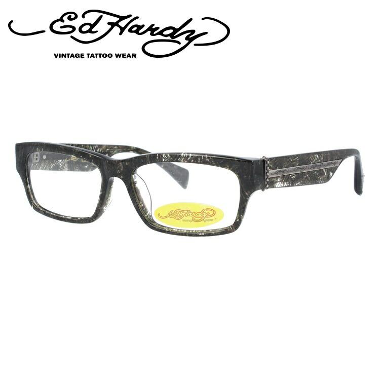 【訳あり】エドハーディー EdHardy メガネ フレーム 眼鏡 度付き 度なし 伊達 EHOA004 3 BLACK HORN ブラックホーン スクエア型 メンズ レディース スクエア型 UVカット 紫外線