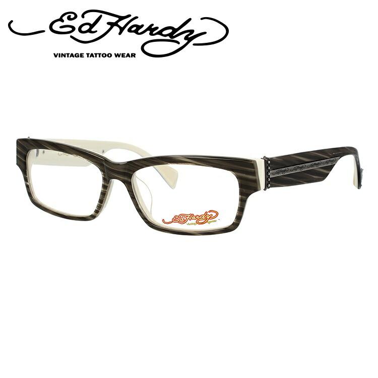 EdHardy エドハーディー 伊達メガネ 眼鏡 EHOA004 4 GREY HAZEL グレイハゼル スクエア メンズ レディース 【スクエア型】