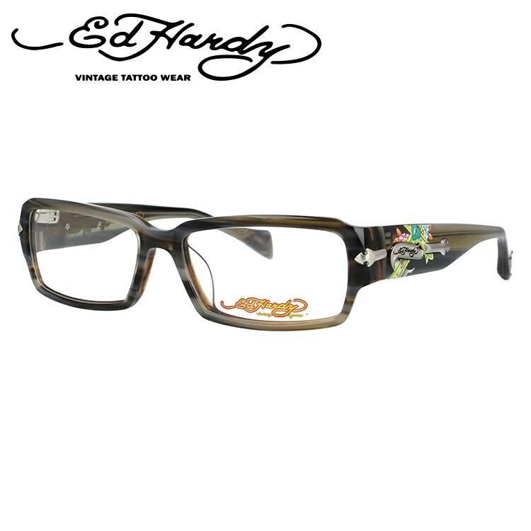 EdHardy エドハーディー 伊達メガネ 眼鏡 EHOA005 2 GREY HORN グレイホーン スクエア メンズ レディース 【スクエア型】