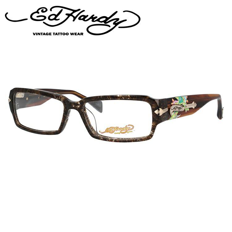 EdHardy エドハーディー 伊達メガネ 眼鏡 EHOA005 3 HAZEL ハゼル スクエア メンズ レディース 【スクエア型】