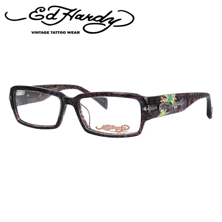 EdHardy エドハーディー 伊達メガネ 眼鏡 EHOA005 4 PURPLE HORN パープルホーン スクエア メンズ レディース 【スクエア型】