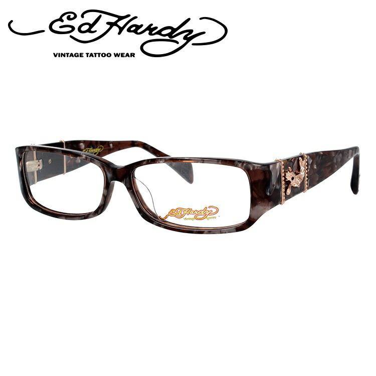 【訳あり】エドハーディー EdHardy メガネ フレーム 眼鏡 度付き 度なし 伊達 EHOA006 2 BROWN HORN ブラウンホーン スクエア型 メンズ レディース スクエア型 UVカット 紫外線