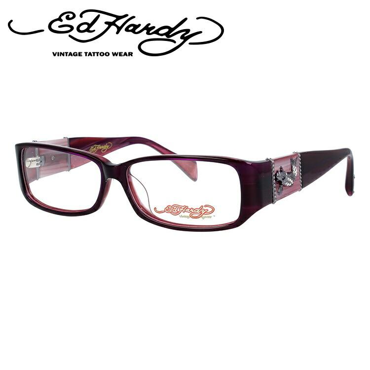 EdHardy エドハーディー 伊達メガネ 眼鏡 EHOA006 3 PURPLE パープル スクエア メンズ レディース 【スクエア型】