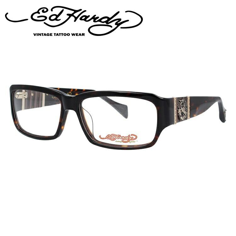 EdHardy エドハーディー 伊達メガネ 眼鏡 EHOA007 2 TORTOISE トータス スクエア メンズ レディース 【スクエア型】