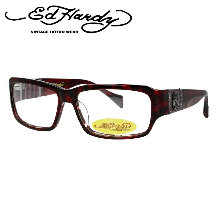 【訳あり】エドハーディー EdHardy メガネ フレーム 眼鏡 度付き 度なし 伊達 EHOA007 4 RED HORN レッドホーン スクエア型 メンズ レディース スクエア型 UVカット 紫外線