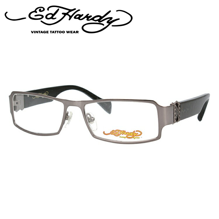 EdHardy エドハーディー 伊達メガネ 眼鏡 EHOA008 4 GUN ガンメタル スクエア メンズ レディース 【スクエア型】