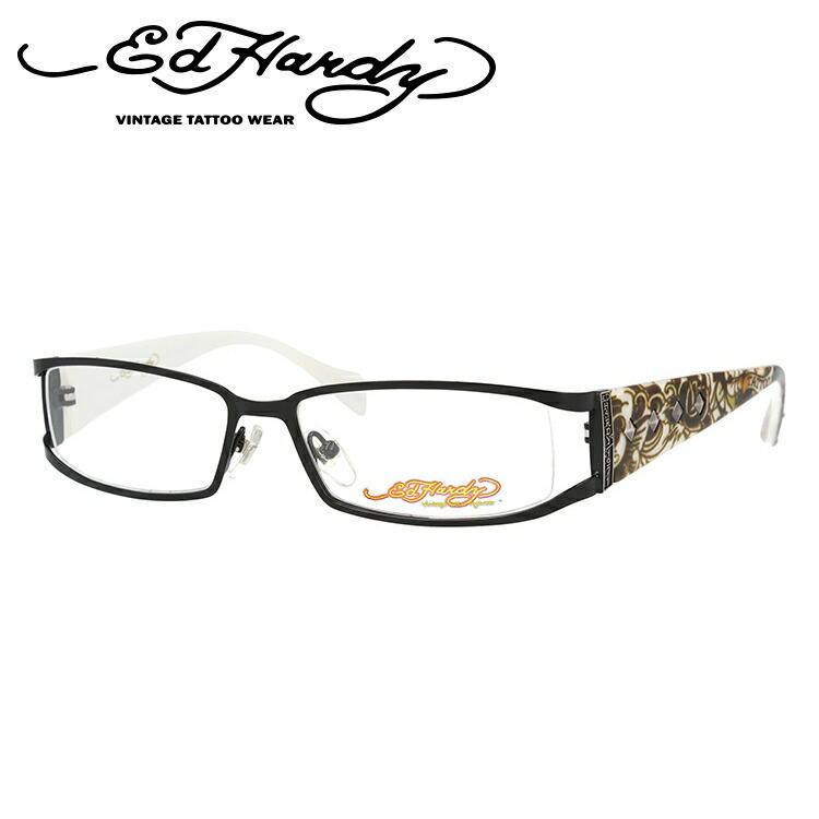 EdHardy エドハーディー 伊達メガネ 眼鏡 EHOA009 1 BLACK ブラック スクエア メンズ レディース 【スクエア型】