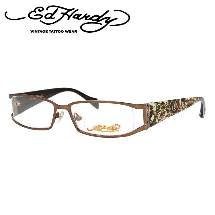 EdHardy エドハーディー 伊達メガネ 眼鏡 EHOA009 2 BROWN ブラウン スクエア メンズ レディース 【スクエア型】