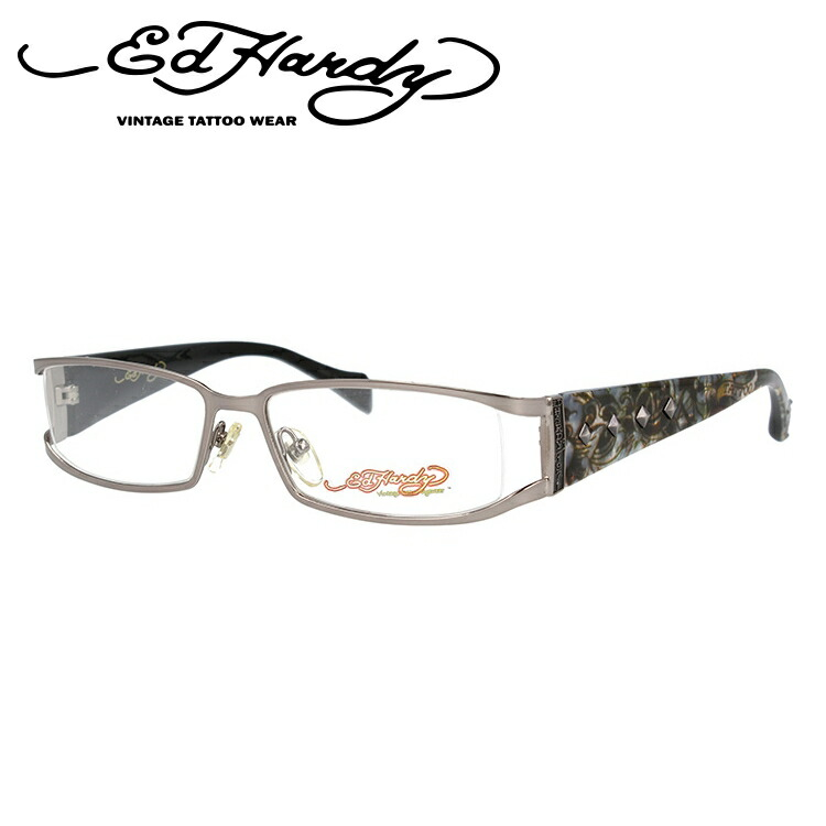 EdHardy エドハーディー 伊達メガネ 眼鏡 EHOA009 3 GUNMETAL ガンメタル スクエア メンズ レディース 【スクエア型】
