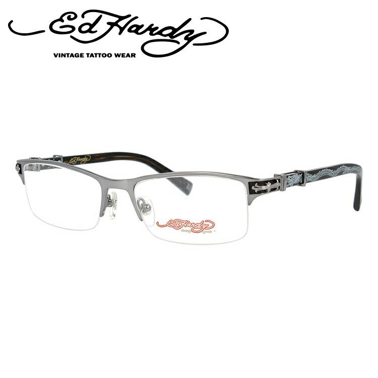 EdHardy エドハーディー 伊達メガネ 眼鏡 EHOA010 4 S.GUNMETAL シルバーガンメタル スクエア メンズ レディース 【スクエア型】