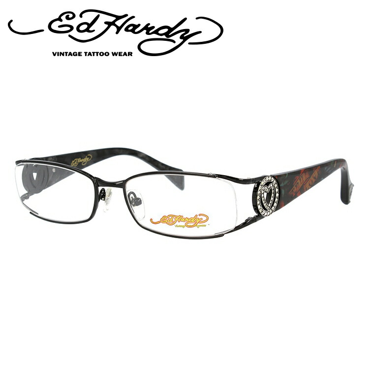 EdHardy エドハーディー 伊達メガネ 眼鏡 EHOA011 1 BLACK ブラック スクエア メンズ レディース 【スクエア型】