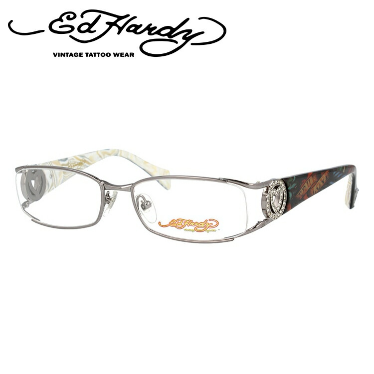 EdHardy エドハーディー 伊達メガネ 眼鏡 EHOA011 4 GUNMETAL ガンメタル スクエア メンズ レディース 【スクエア型】