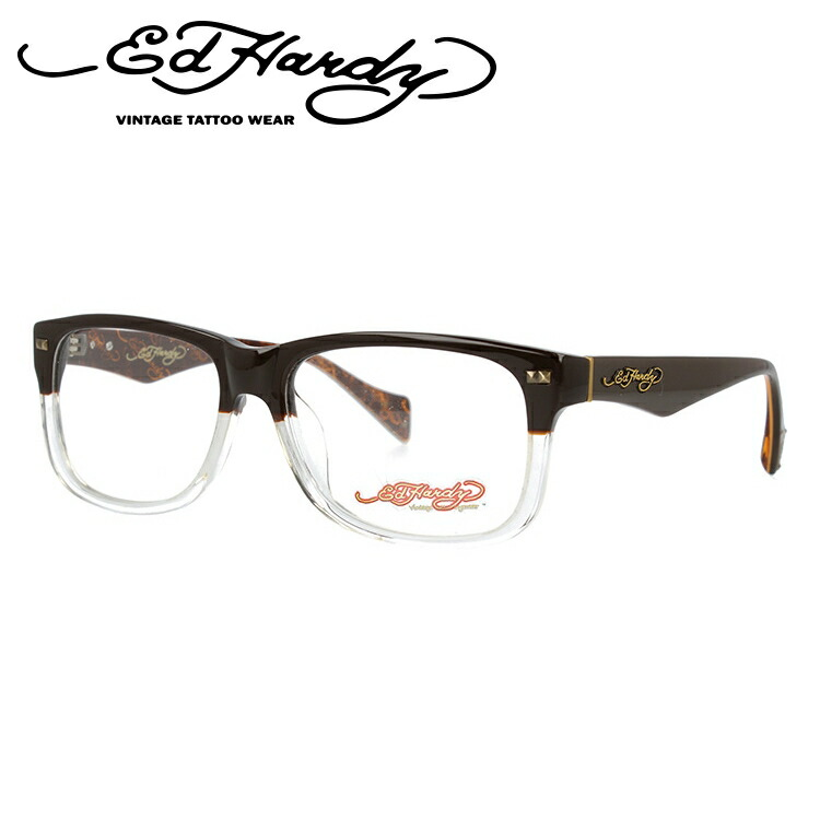 EdHardy エドハーディー 伊達メガネ 眼鏡 EHOA013 2 BROWN CR ブラウンクリスタル ウェリントン メンズ レディース 【ウェリントン型】